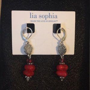 Red bead drop earrings by Lia Sophia